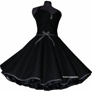 Petticoat Kleid Punkte Schwarz Band Rockabilly Weiße qMVSUpGz