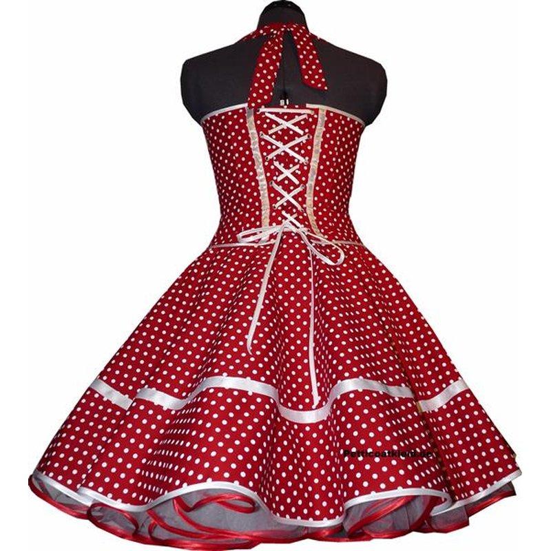 50er Korsagen Petticoat Kleid rot kleine weiße Punkte ...