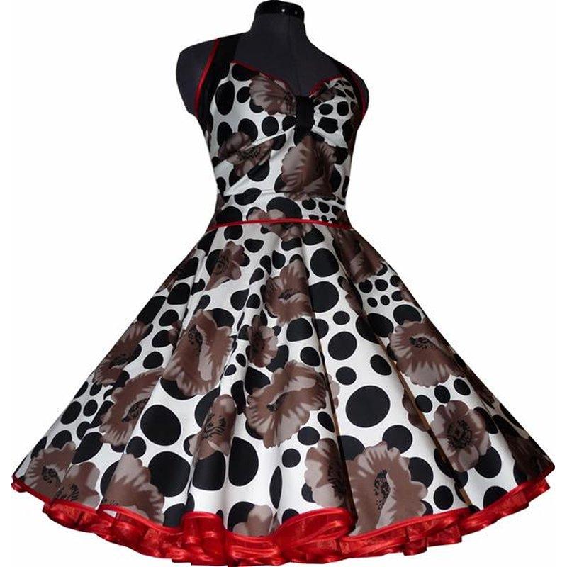 Rassiges Petticoat Kleid braune Mohnblumen schwarze Punkte ...