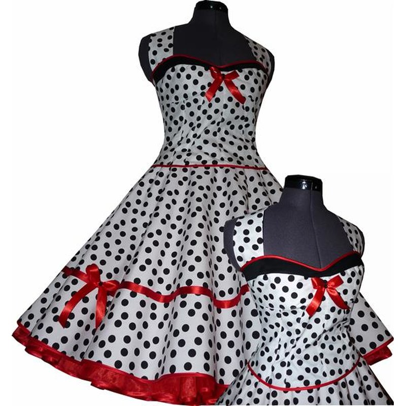 50er petticoat kleid korsage weiss schwarz rot tanzkleid. Black Bedroom Furniture Sets. Home Design Ideas