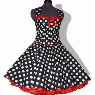 48b6abb055ba25 50er Punkte Kleid zum Petticoat schwarz weiße Punkte rote Bänder ...