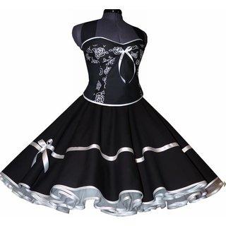 Korsagen Petticoat Kleid schwarz Dekoltee weiße Rosen 34 ...