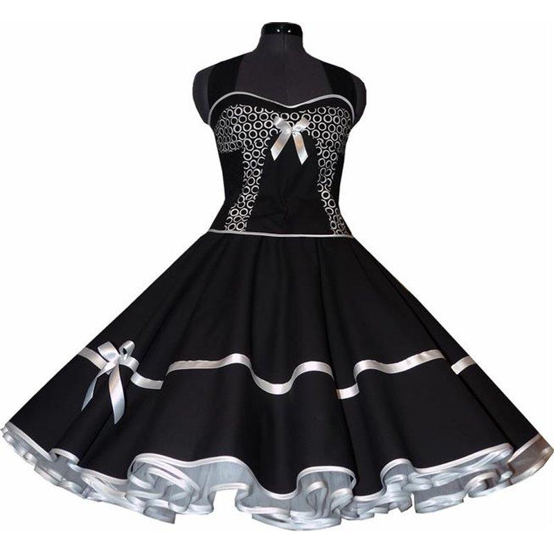 petticoat kleid schwarz vintage dekoltee wei e kringelpunkte. Black Bedroom Furniture Sets. Home Design Ideas