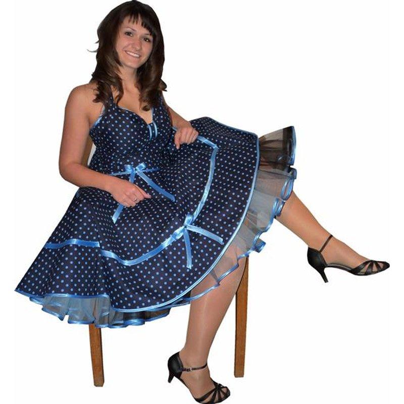 Petticoat Kleid Punkte dunkelblau marine blaue Tupfen ...
