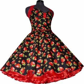 26d988cc3fcd Kleid Rockabilly schwarz große rote Erdbeeren 36 - Tanzkleid-de