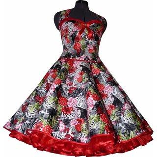 Blumen Sommerkleid Zum Petticoat Rot Schwarz Weiss Tanzkleid D