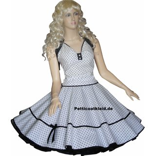 3b27ace39590 Punkte Petticoat Kleid Rockabilly weiß kleine schwarze Tupfen ...