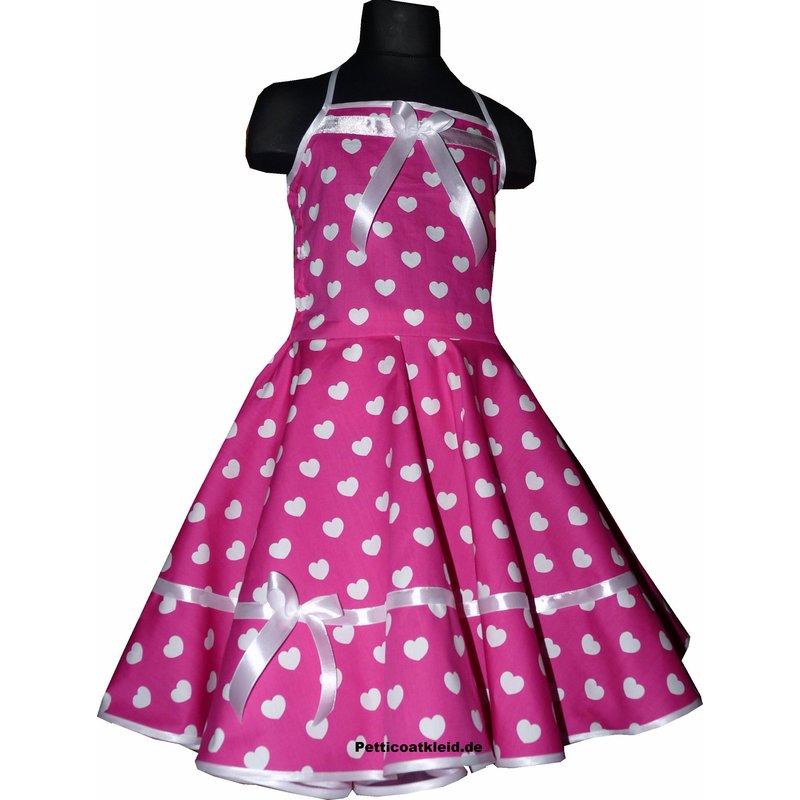 m dchenkleid zum petticoat pink mit wei en herzchen tanz. Black Bedroom Furniture Sets. Home Design Ideas