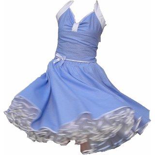 Punkte Petticoat Kleid Rockabilly hellblau weiße kleine Tupfen