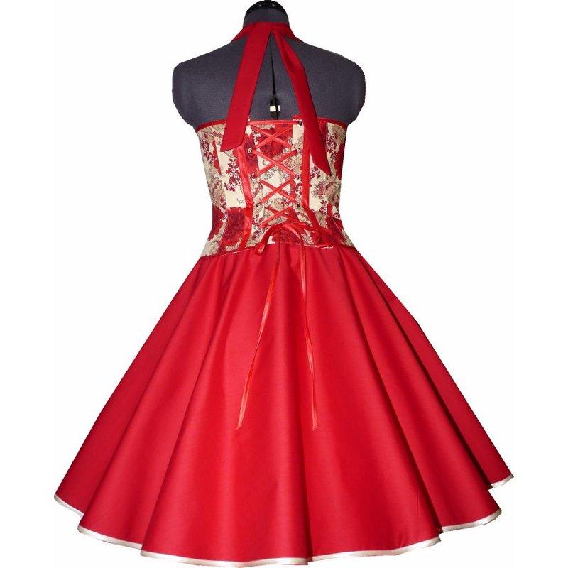 tanzkleid im 50er stil zum petticoat rot creme blumen 38