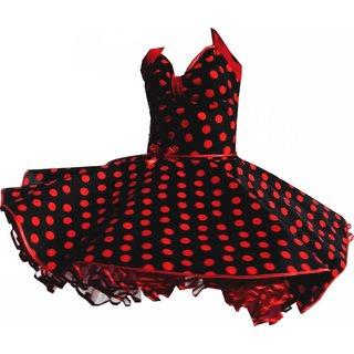 62a0b2196f81 Punktekleid Rockabilly schwarz große rote Tupfen - Tanzkleid-de