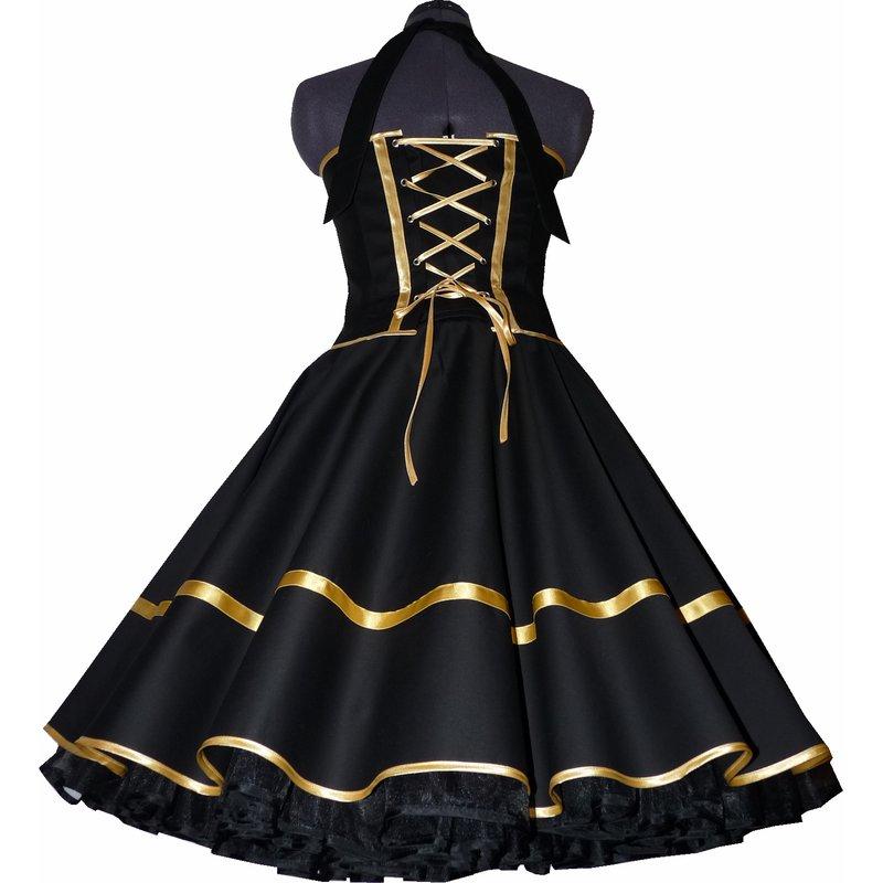 Festliches 50er Kleid zum Petticoat schwarz Dekoltee gold ...