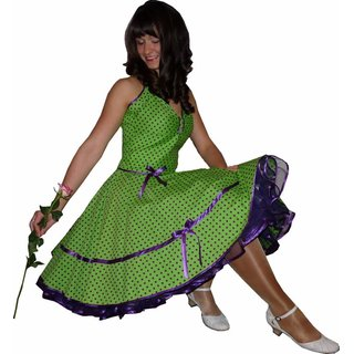 f3b45bbade354e 50er Kleid zum Petticoat grün Punkte lila violett - Tanzkleid-de