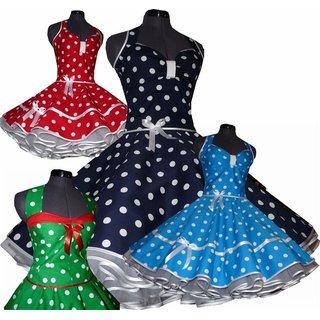 5oer Kleid Rockabilly Dunkelblau Rot Turkis Schwarz Grosse
