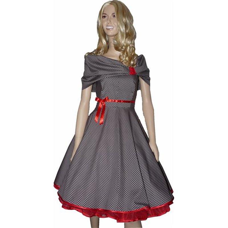 50er Lolita Kleid zum Petticoat grau schwarze Punkte rot ...