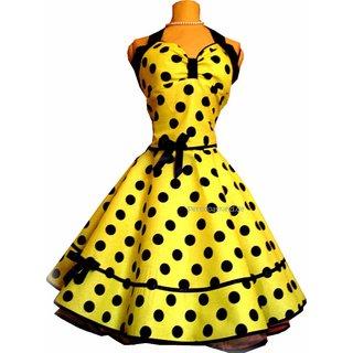 76ede1aa3e26 Punktekleid Rockabilly gelb große schwarze Tupfen - Tanzkleid-d