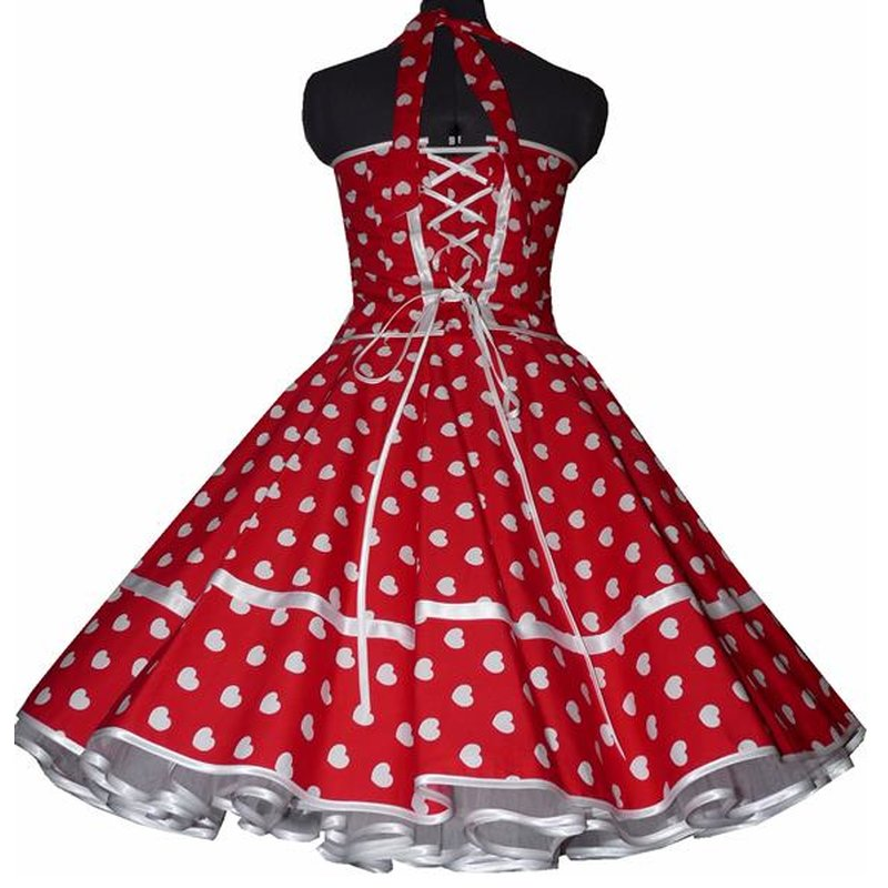 50er Kleid Korsagen Petticoat Kleid rot pink Herzen rot weiß