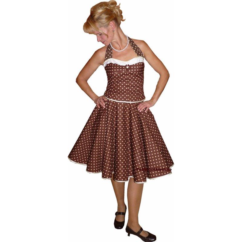 kleid zum petticoat swing braun ganz kleine weiße punkte