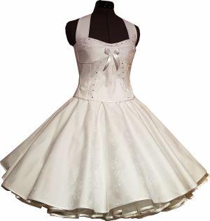 weißes Brautkleid mit weißen Roeschen