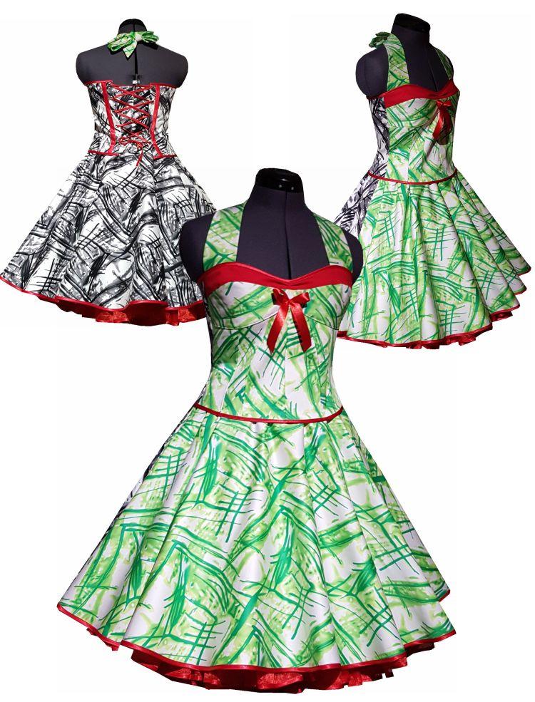 petticoatkleid in Doppeloptik Streifen gruen schwarz