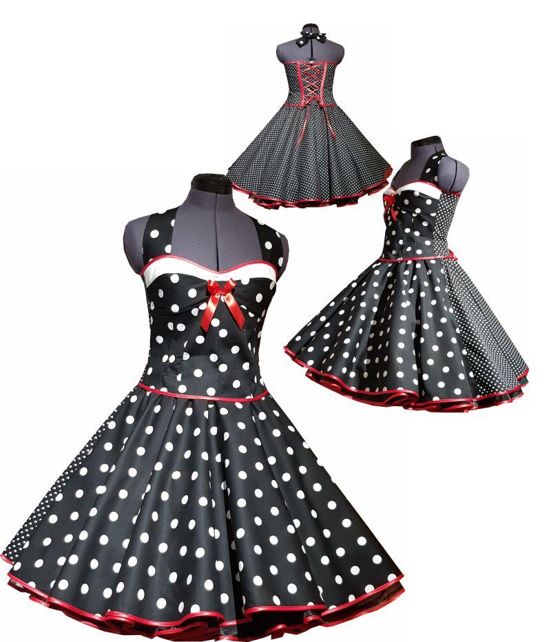 Petticoatkleid in Doppeloptik mit Punkten
