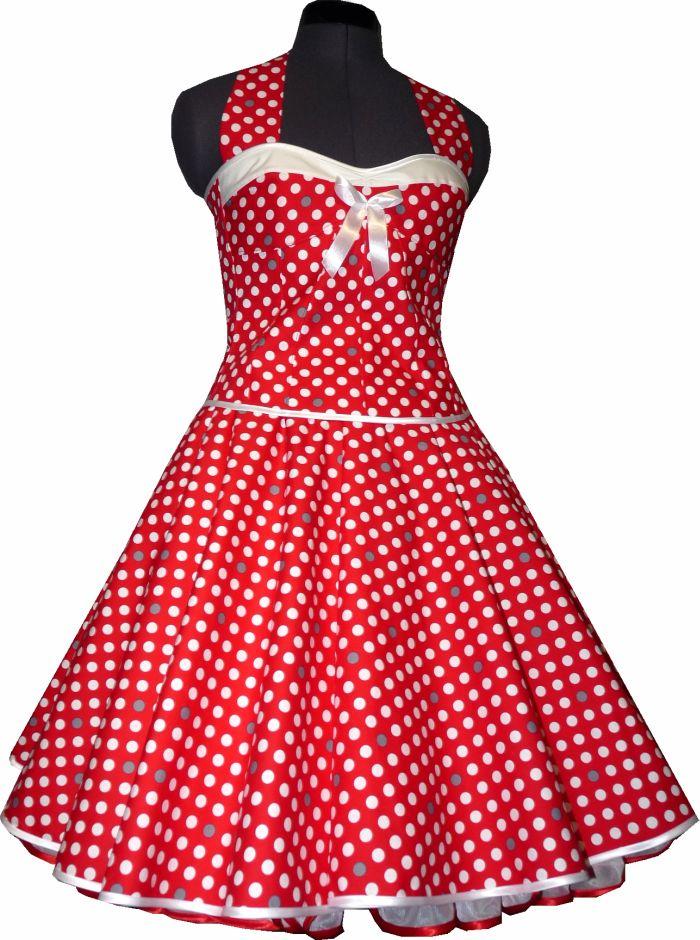 Petticoatkleid rot mit weissen und grauen Punkten