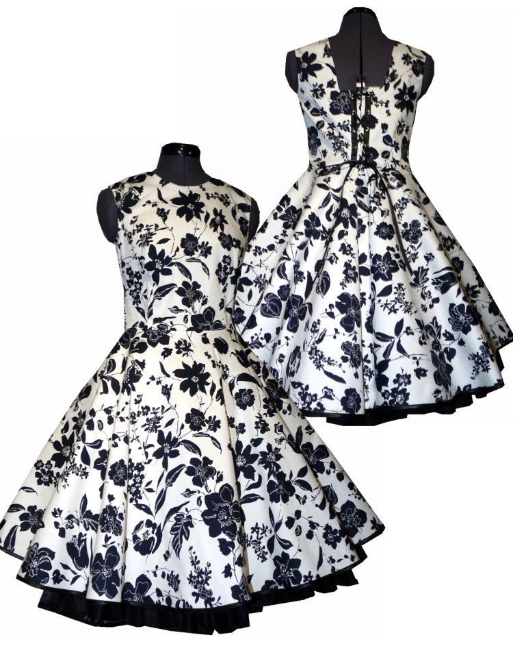 Petticoatkleid weiß schwarze Blumen