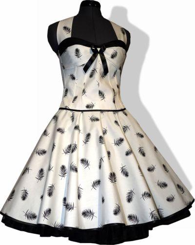 Petticoatkleid weiß schwarze Federn