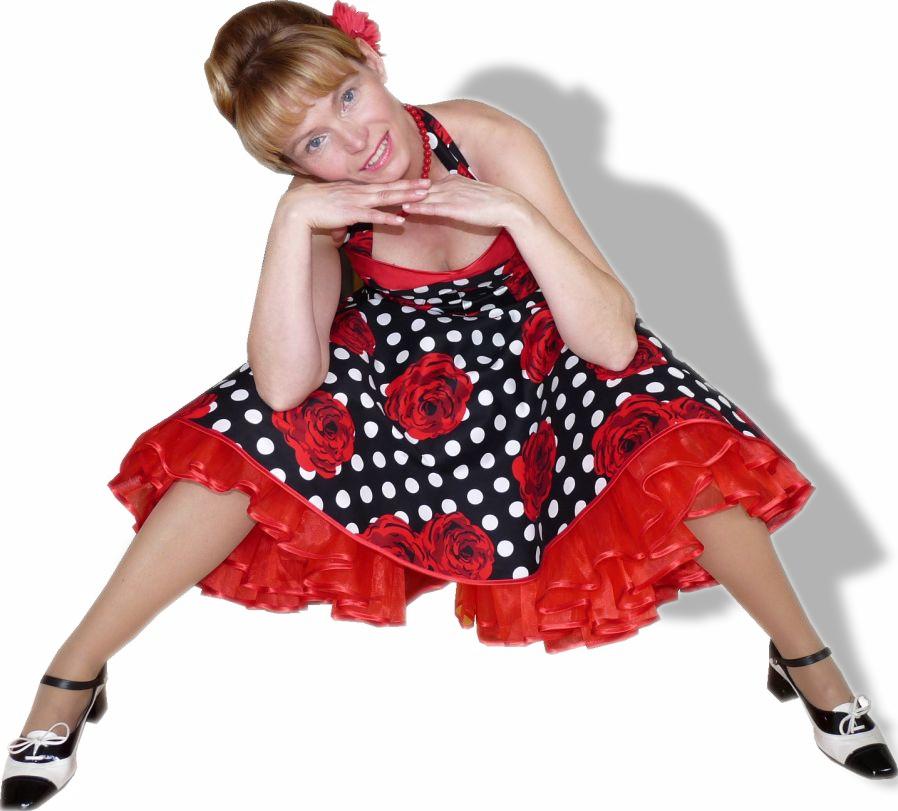Petticoatkleid schwarz weisse Punkte rote Rosen